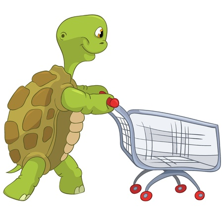 Funny Turtle  Shopping  Stock Vector - 13533804