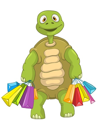 Funny Turtle  Shopping Stock Vector - 13533860
