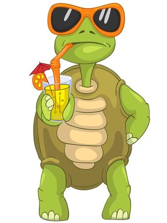 karikatuur: Funny Turtle Drinken Cocktail