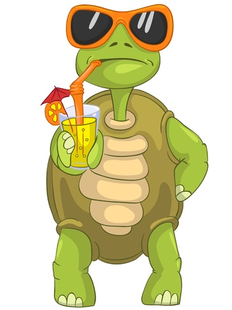 cartoon turtle: Funny Turtle Drinking Cocktail