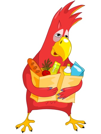 Funny Parrot  Shopping  Stock Vector - 13640790