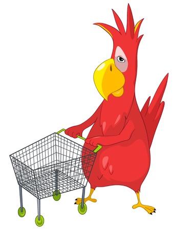 Funny Parrot Shopping Stock Illustratie