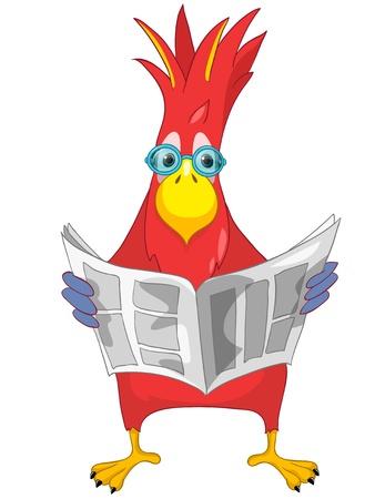 Funny Parrot  News  Stock Illustratie