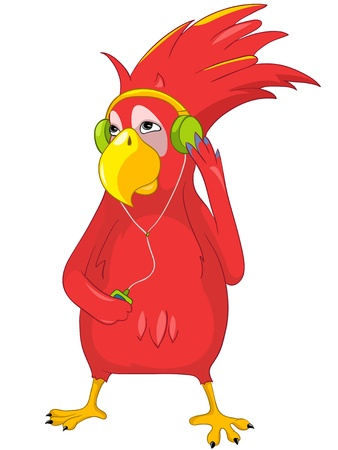 Funny Parrot Listening to Music Stock Vector - 13640779