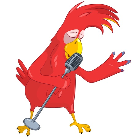 Funny Parrot Singing Stock Vector - 13640782