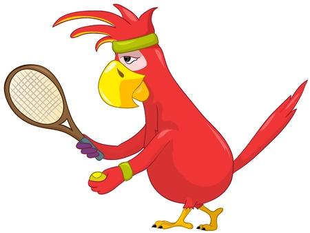 Funny Parrot  Tennis  Vector