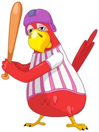 Funny Parrot  Baseball Stock Vector - 13963860