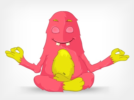 concentration: Cartoon Character Funny Monster Isolated on Grey Gradient Background. Yoga.