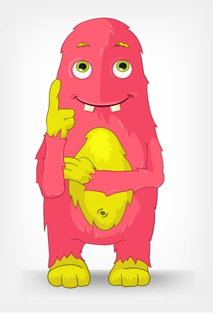 Cartoon Character Funny Monster Isolated on Grey Gradient Background. Thinking. Ilustrace