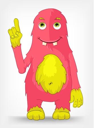 Karakter van het beeldverhaal Grappige Monster Geà ¯ soleerd op grijze Gradient Achtergrond. Stock Illustratie