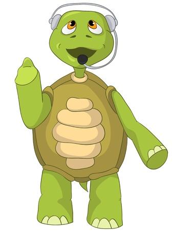 telefon: Postać Funny Cartoon Turtle Pojedynczo na białym tle. Komunikacja.