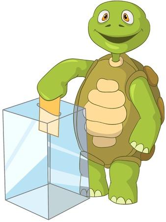 만화 캐릭터 재미 거북이 흰색 배경에 고립입니다. 선거.