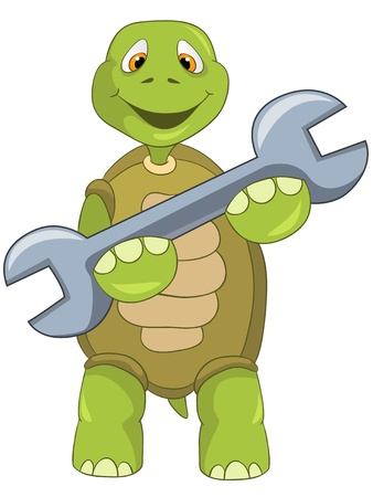 Cartoon Character Funny Turtle Isolated on White Background. Support