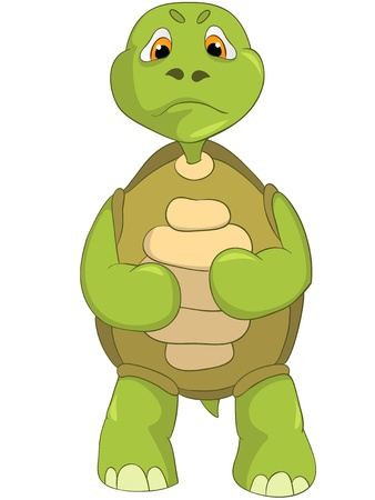 Cartoon Character Angry Turtle Isolated on White Background Vector