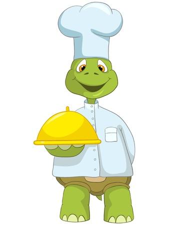만화 캐릭터 재미 거북이 흰색 배경에 고립입니다. 요리사 일러스트