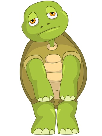 Cartoon Character Sad Turtle Isolated on White Background Stock Vector - 14455781