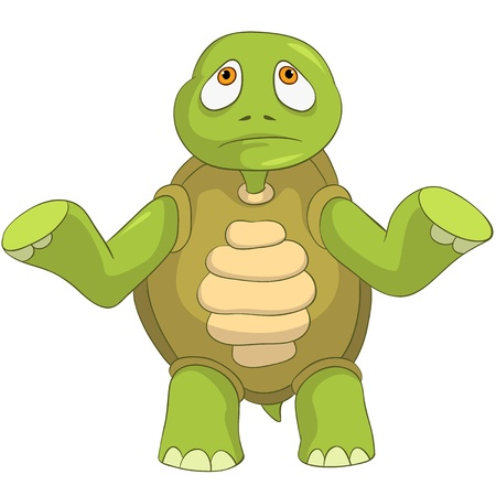 turtle isolated: Tortuga de dibujos animados Triste Aislado sobre fondo blanco