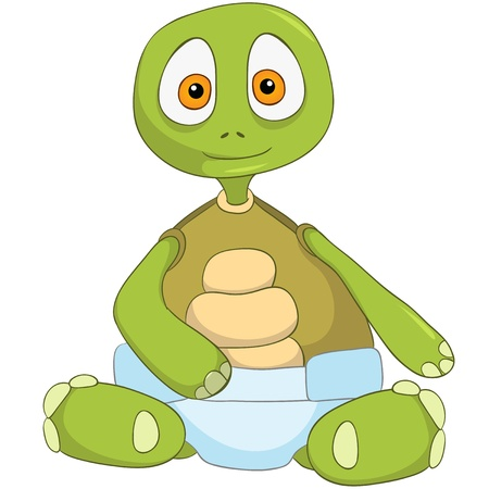 cartoon new: Cartoon Character Funny Turtle Isolated on White Background. Baby Illustration
