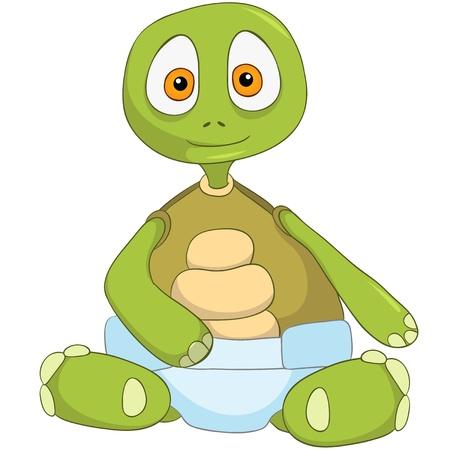 tortuga de caricatura: Tortuga de dibujos animados divertido Aislado sobre fondo blanco. Beb� Vectores