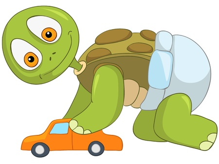 Cartoon Character Funny Turtle Isolated on White Background Vector