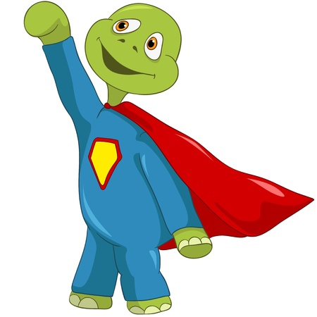 Cartoon Character Funny Turtle Isolated on White Background. Superman Vector