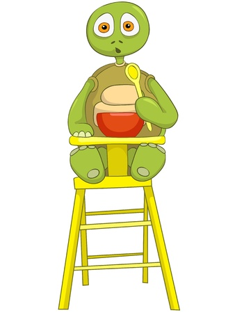 Cartoon Character Funny Turtle Isolated on White Background. Baby Eating. Vector EPS 10.