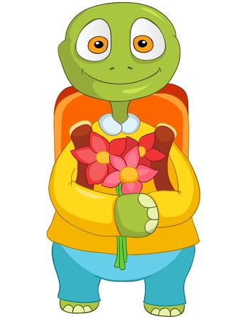 first day of school: Cartoon Character Funny Turtle Isolated on White Background. Back to school