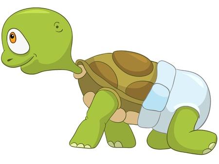 tortuga caricatura: Tortuga de dibujos animados divertido Aislado sobre fondo blanco. Baby First Step Vectores