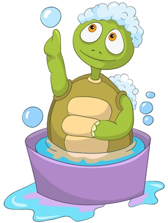 Cartoon Character Funny Turtle Isolated on White Background. Baby Washing. Çizim