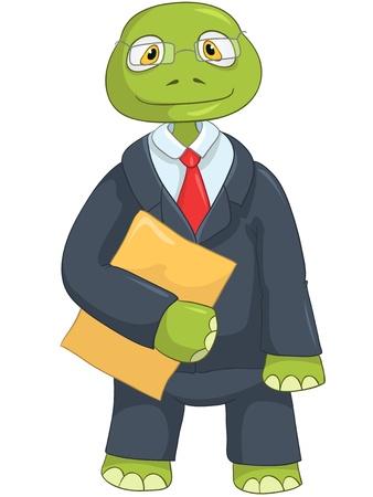 만화 캐릭터 재미 거북이 흰색 배경에 고립입니다. 실업가 일러스트