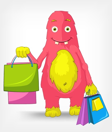 Funny Monster  Shopping  Vector