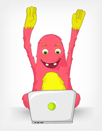 coder: Funny Monster  Coder  Illustration
