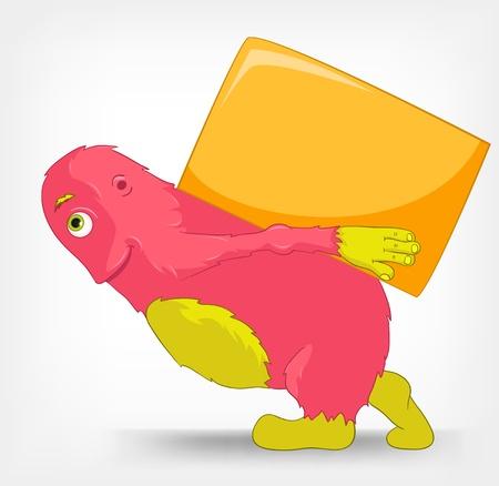 verhuis dozen: Grappige Monster Levering Stock Illustratie