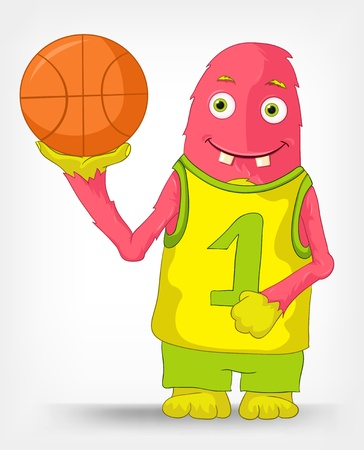 Funny Monster  Basketball  Stock Vector - 14456078