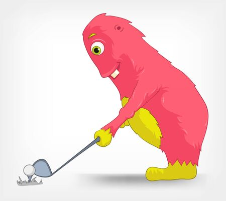 Funny Monster  Golf  Vector
