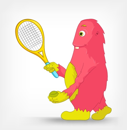 Funny Monster  Tennis  Stock Vector - 14456162