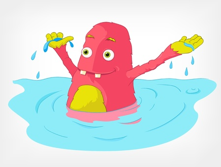 Funny Monster  Swimmer  Vector