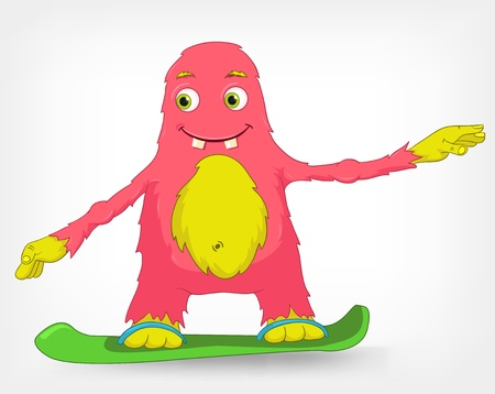 Funny Monster  Snowboarding  Stock Vector - 14535779