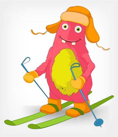 Funny Monster  Skiing