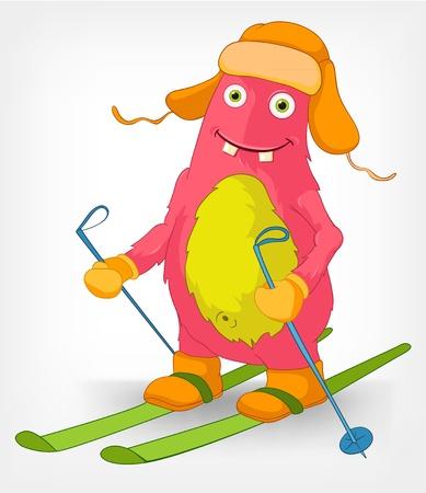 Esquí monstruo divertido Foto de archivo - 14535790