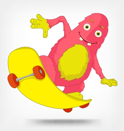 Funny Monster  Skateboarding Stock Vector - 14535787