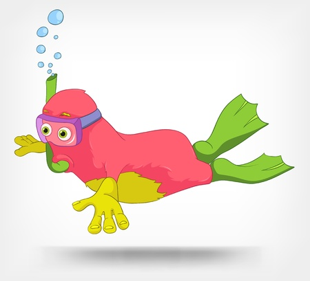 Funny Monster  Diver Stock Vector - 14535780