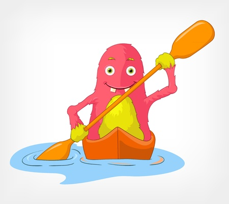 Funny Monster  Kayaker  Stock Vector - 14535774