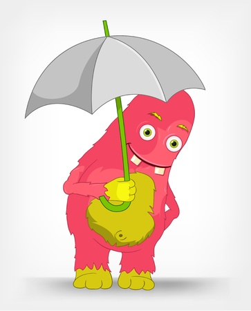Funny Monster  Under umbrella   Vector