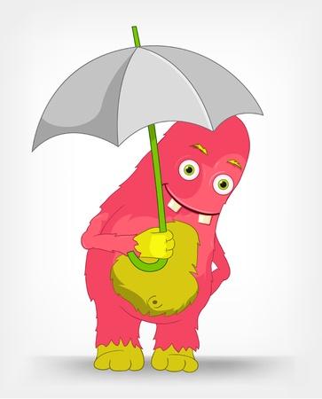 Funny Monster  Under umbrella Stock Vector - 14575697
