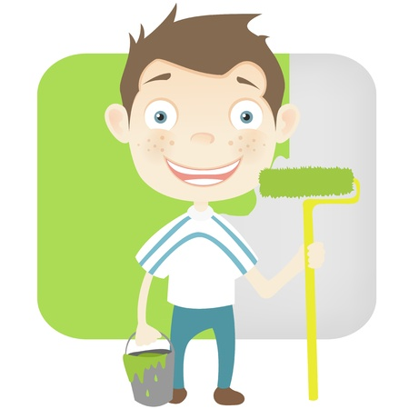 construction worker cartoon: Cute Teenager
