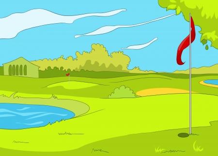 arboles de caricatura: Golf Campo