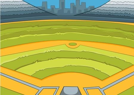 deportes caricatura: Estadio de Béisbol Vectores
