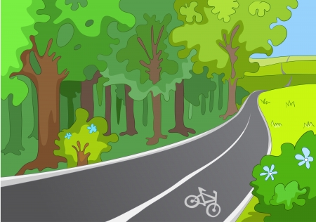 tranquil scene on urban scene: Bicycle Path Illustration