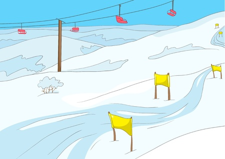 스키: 스키 리조트 일러스트